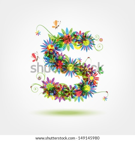 Floral letter for your design