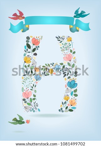 floral letter h with blue