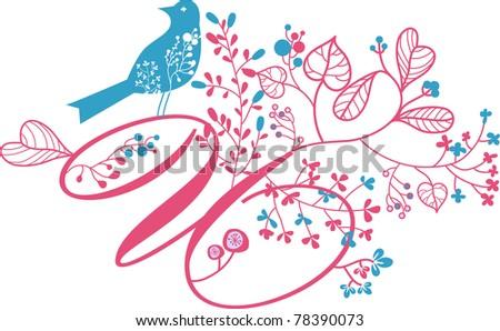 floral letter U - stock vector