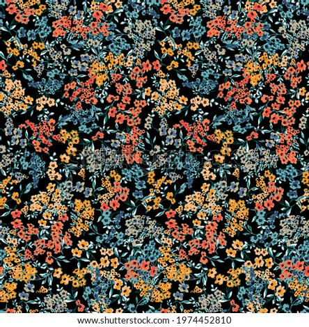 Floral liberty pattern. Plant background for fashion, tapestries, prints. Modern floral design perfect for fashion and decoration