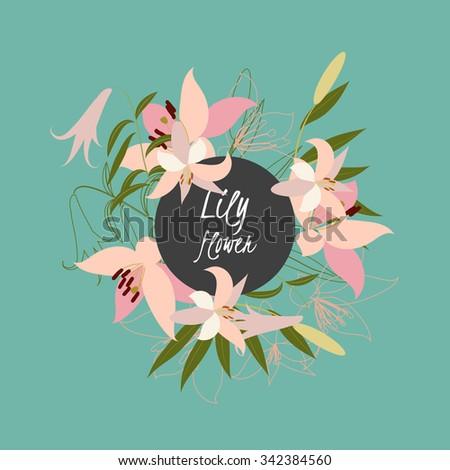 Floral lily retro vintage background, vector illustration