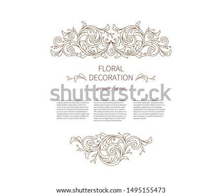 Floral lineart decoration, frame, vignettes. Arabic and Eastern motifs. Ornamental illustration, flower garland. Isolated line art coloring book ornaments. Arab ornament with leaves, curls for cards.