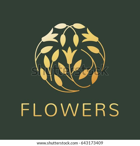 Floral logo. Flower icon. Floral emblem. Cosmetics, Spa, Beauty salon, Decoration, Boutique logo. Luxury, Business, Royal Jewelry, Hotel Logo. Interior Icon. Resort and Restaurant Logo.