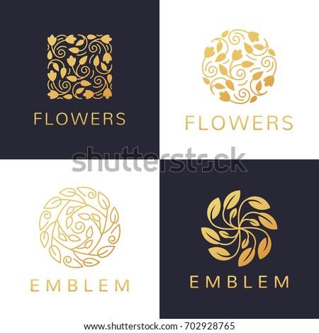 Floral logo set. Flower icon. Floral emblem. Cosmetics, Spa, Beauty salon, Decoration, Boutique logo. Luxury, Business, Royal Jewelry, Hotel Logo. Interior Icon. Resort and Restaurant Logo.