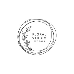 Floral logo template circle with leaves