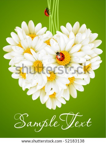 Floral love card (camomile heart)