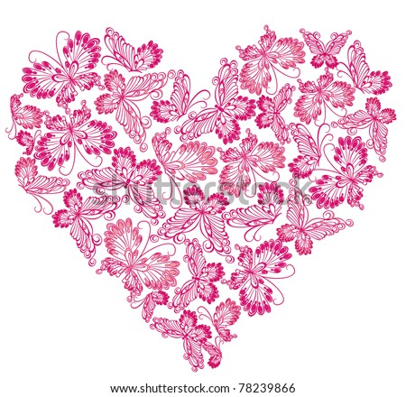 Floral Love Shape. Vector Heart of butterflies.