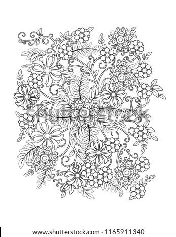 floral mandala pattern in black