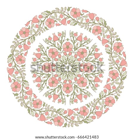 floral mandala round pattern...