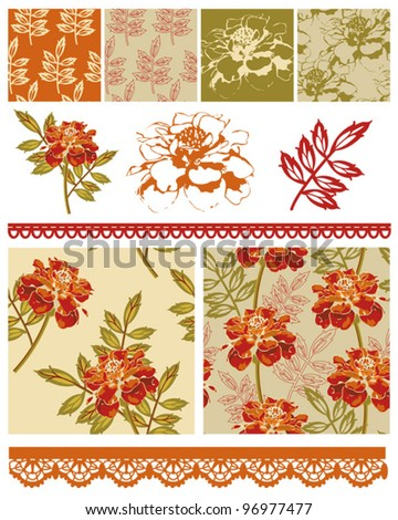 Floral Marigold Patchwork Seamless Vector Patterns and Icons.  Use to create textile patches to make quilt pieces or other various craft projects.