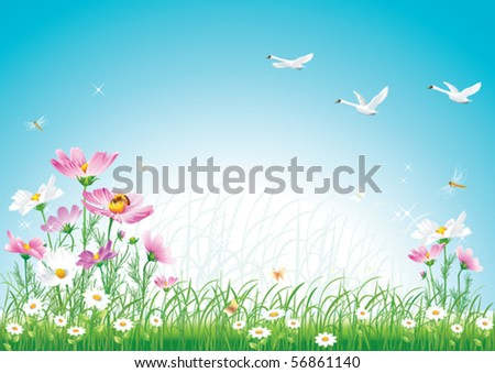 floral meadow with swan