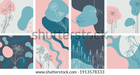 Floral minimal banners set. Hand drawn line wild flower and abstract blob shapes, herbal and meadow plant, modern floral template for social media posts. Vector botanical illustration pink blue colors Stock foto ©