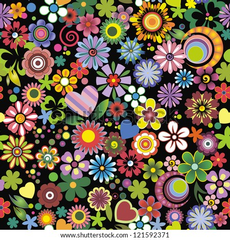 Floral mix, black background