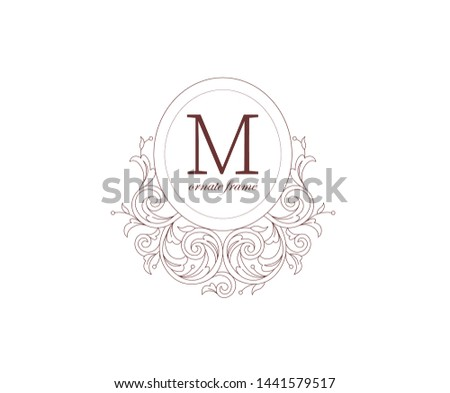Floral monogram frame, vignettes. Arabic and Eastern motifs. Ornate ornamental illustration, flower garland. Outline, line art ornaments for coloring book. Ornament, leaves, curles for invitations.