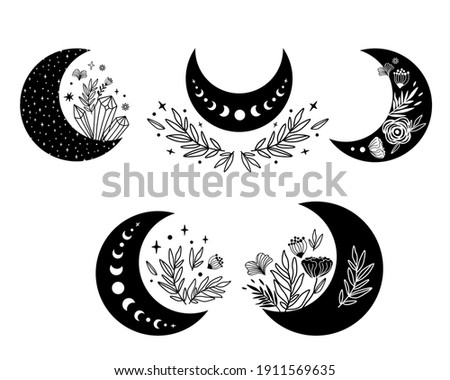 Floral moon clipart. Moon phase and flowers set. Black moon icon. Celestial crescent isolated elements. Hand drawing crescent flower. Witch boho moon shape design. Ramadan symbol. Vector illustration.