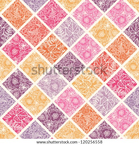 Floral mosaic tiles seamless pattern background