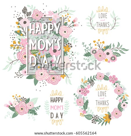 Floral Mother's Day Frame Elements