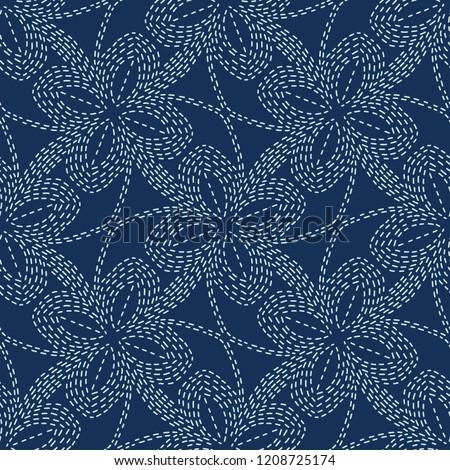 floral motif sashiko style