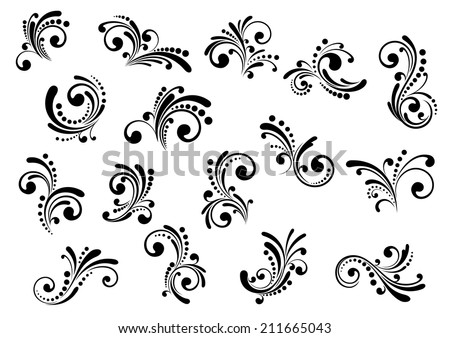 Floral motifs and design elements in swirl damask style isolated on white