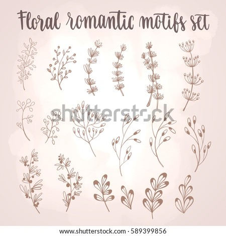 Floral motifs set. Hand drawn decorative elements collection. Flowers, plants, branches and leaves on light background. Vector illustration for greeting card, poster or leaflet. #589399856
