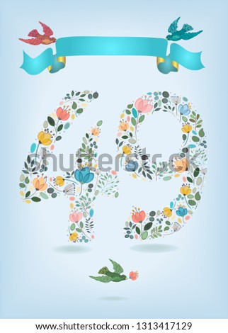 floral number 49 with blue