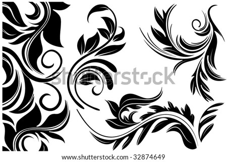 Floral ornament, abstract vector flowers