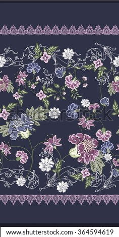floral ornament border textile