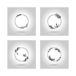 floral ornament frame for wedding invitation name title. vector template set design