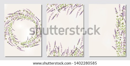 Floral ornament, set card, leaves. Floral frame template, invitation with lavender,  poster, invite. Decorative greeting card or invitation. Vector illustration with place for your