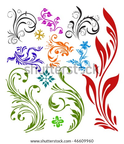 Ornament vector design color plants and flowers stock vector