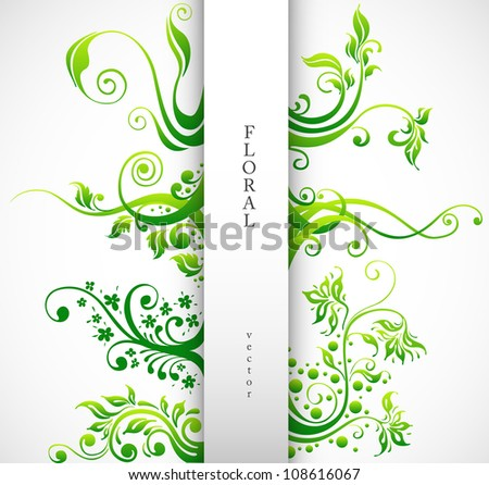 Floral Ornament Vector Design Elements. Green Plants with Leafs and Decorative Elements Set.