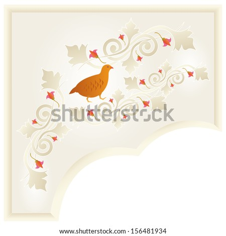 Floral ornament with a partridge by BibiDesign