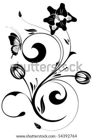 Floral ornament with butterfly, element for design, vector illustration