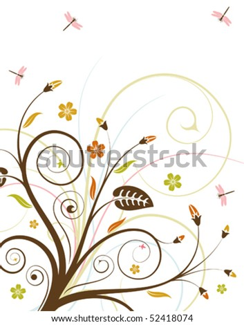 floral ornament with dragonfly