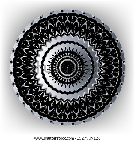 Floral ornamental black silver vector mandala pattern. Surface round ornament on white background. Decorative ornaments with zigzag radial lines, shapes, circles. Flower. Ornate isolated design.