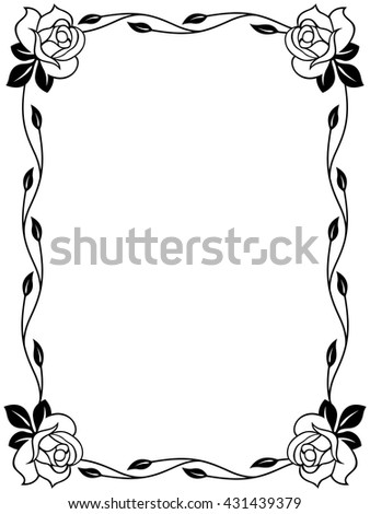 Floral Ornamental Frame With Roses Black And White Vector