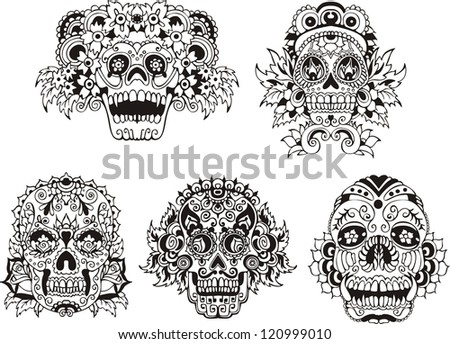 Floral ornamental skulls Set of black and white vector illustrations