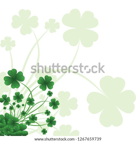 Floral ornate background to St. Patrick's Day with clover. Vector iilustration.