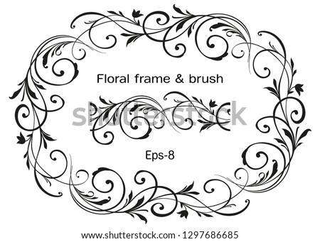 Floral ornate Wreath isolated on white background and brush. Engraved Vector Element. Vintage frame for Save the Date Card, Wedding invitation, Covers. Eps-8