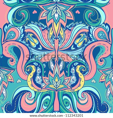 Floral paisley indian vector colorful ornate seamless pattern