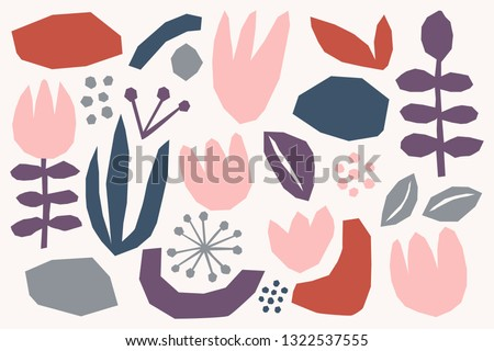 Floral paper cut shapes in red, pastel pink, blue, gray and purple on white background. Cute and modern wallpaper, web background, fabric and packaging design. Contemporary collage design elements set Stock photo ©