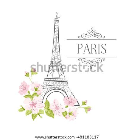 floral paris illustration