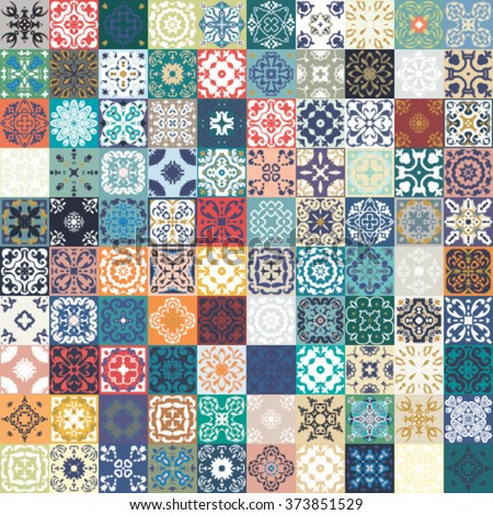 floral patchwork tile design