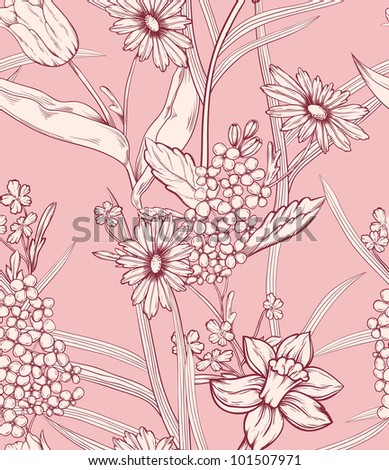 Floral pattern. Could be used as seamless wallpaper, wrapping paper, background, etc