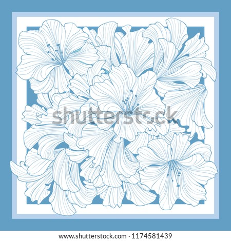 Floral pattern decor for silk tiussiue. Delicate color flower decor for square shape scarf. Batic technique flowering background