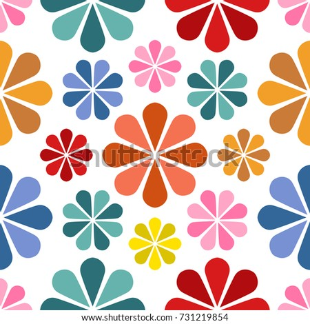 Floral Pattern Design, Babies and Kids Summer, Spring Seamless Vector Background, Cute  Wrapping Paper