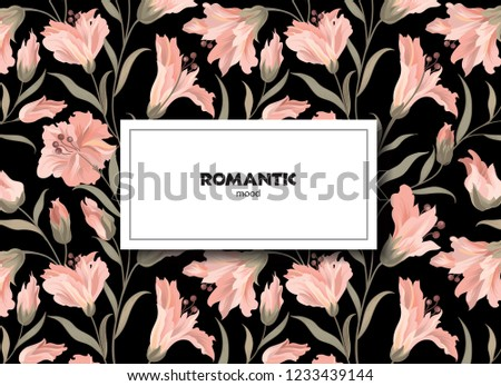 Floral pattern. Flower background. Floral design for perfume, women product, natural cosmetics package. Good for greeting card, wedding invitation, spring background