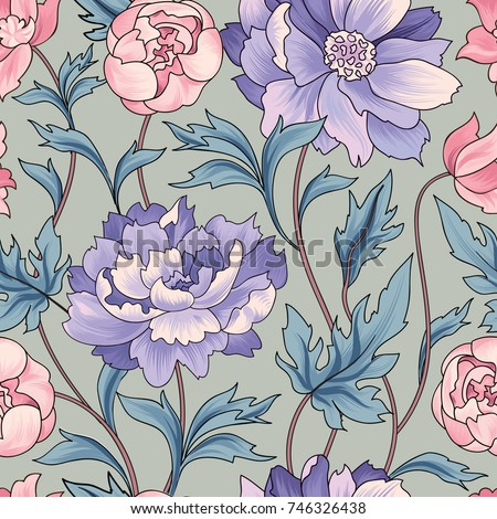 Floral pattern  Flower rose ornamental background Flourish texture with summer flower bouquet. Gentle floral tiled wallpaper