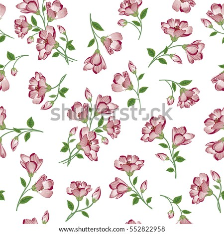 Floral pattern. Flower seamless background. Flourish ornamental spring garden texture.