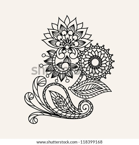 floral pattern hand drawing illustration - henna tattoo design